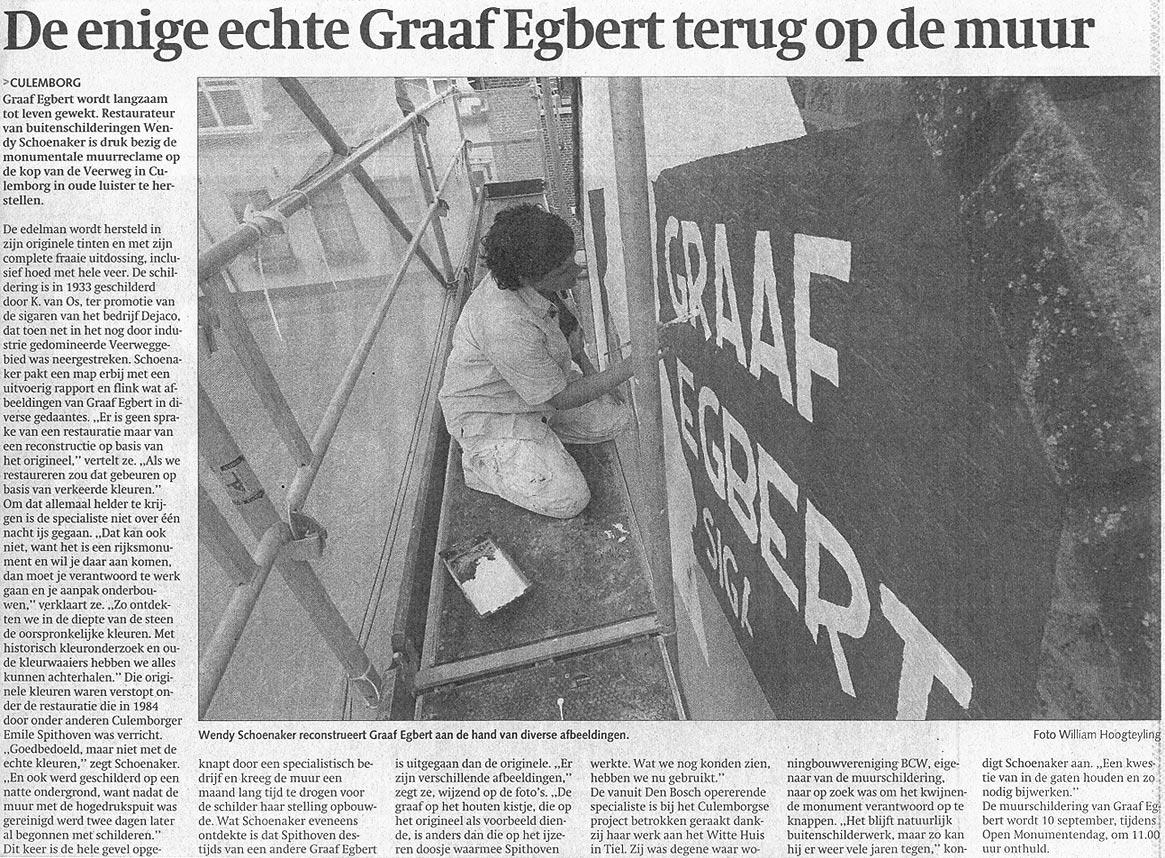 De enige echte Graaf Egbert terug op de muur